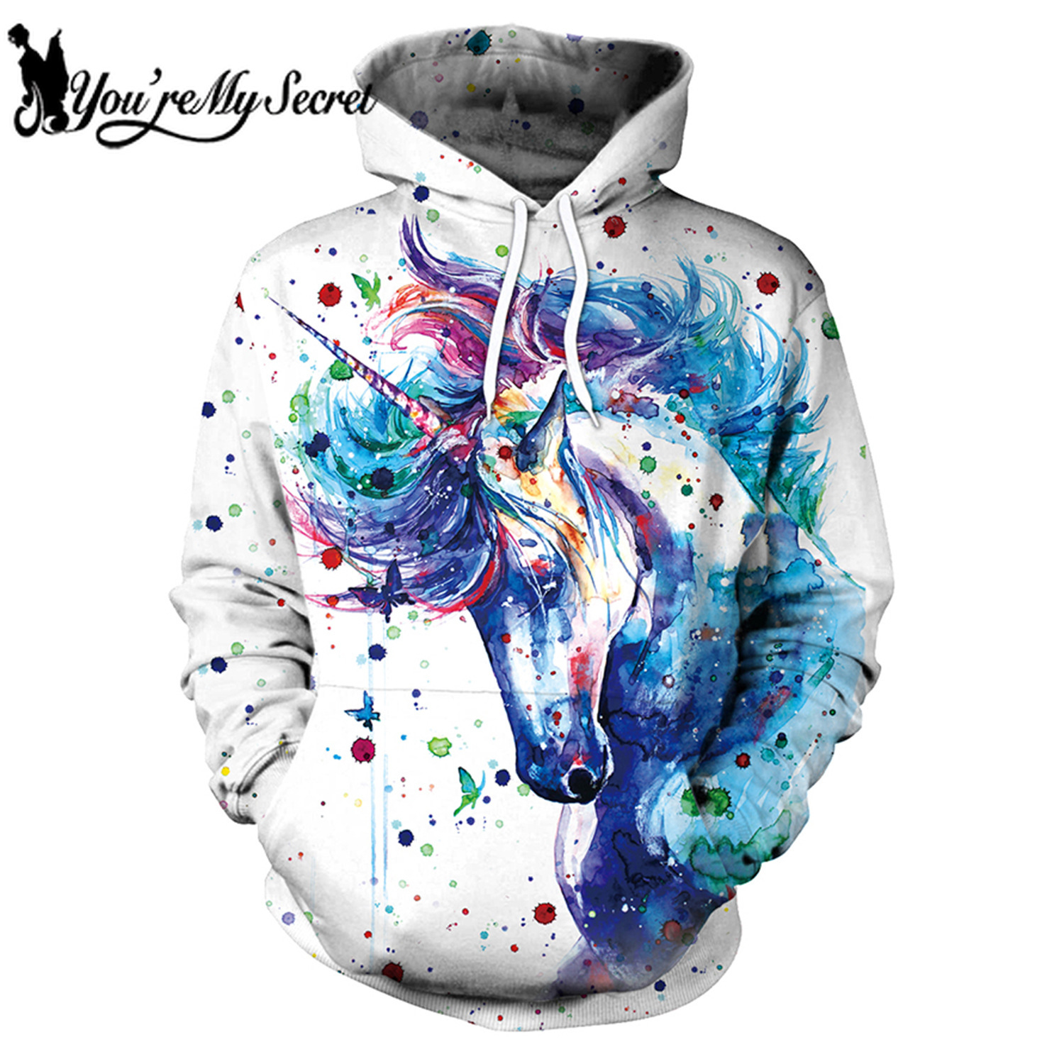 [You're My Secret] 2019 New Fashion Digital Print Unicorn Anime Long Sleeve Outdoor Warm Hooded Hoodie Sweatshirt for Women Men