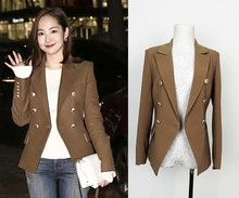 trending 2016 autumn fashion brand women's Blazers plus size luxury brand designer Blazers good quality brown XL
