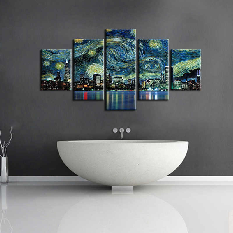 Hurtownie 5 sztuk/zestaw miasta serii dekoracja ścienna z krajobrazem na ścianie dekoracji domu malarstwo dekoracyjne na płótnie framde miasta-96