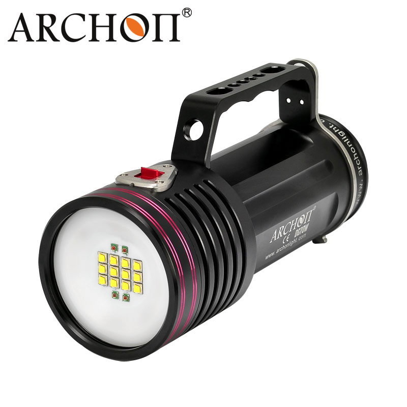 ARCHON D100W-II CREE XM-L2 U2 10000 Lumens LED Diving Flashlight Waterproof Diving Torch with Battery and Charge 100% original archon d10s w16s diving flashlight cree xm l u2 led 860 lumens diving flashlight torch without battery