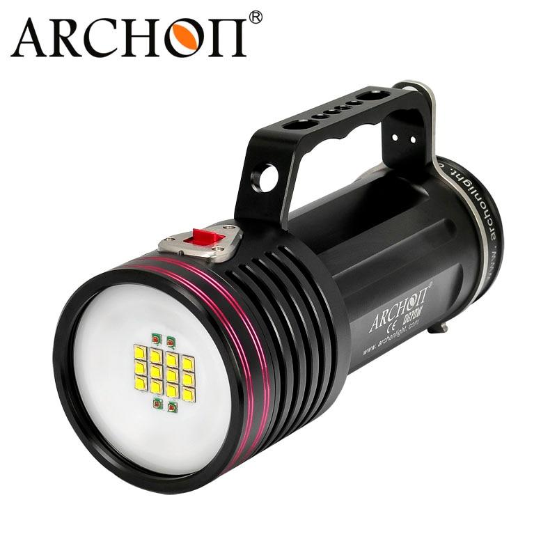 Archon D100W-II cree XM-L2 U2 10000 lúmenes LED linterna de buceo impermeable buceo antorcha con la batería y la carga