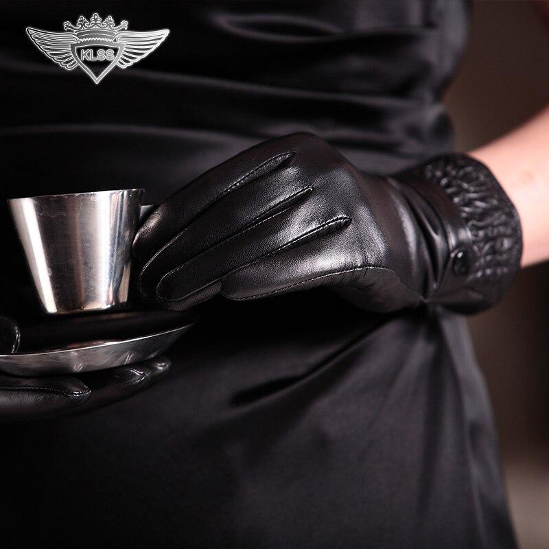 KLSS Brand Genuine Leather Women Gloves High Quality Goatskin Gloves Winter Plus Velvet Black Elegant Lady Sheepskin Glove 825 in Women 39 s Gloves from Apparel Accessories