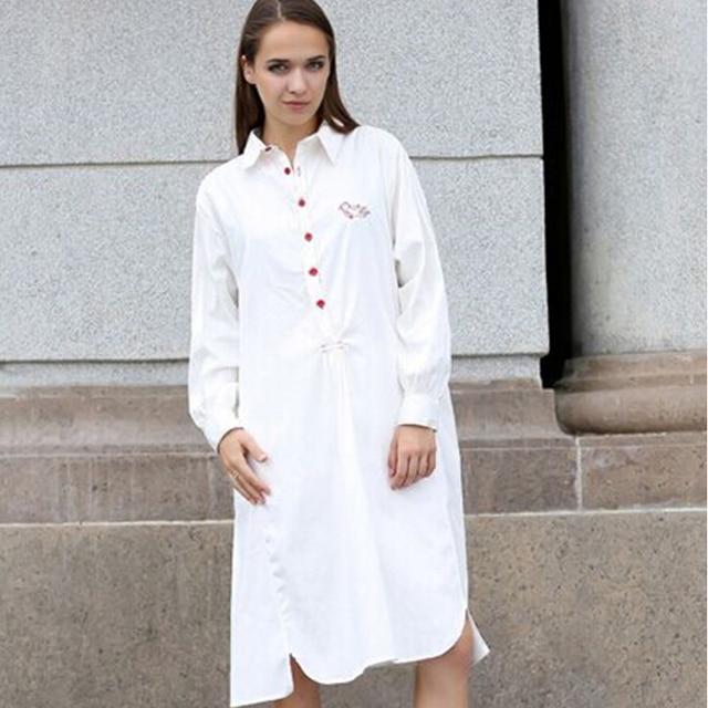 844fc49aaf7 Blusa primavera otoño nueva mujer suelta Casual vestido de Camisa larga  Mujer blusa larga blanca a