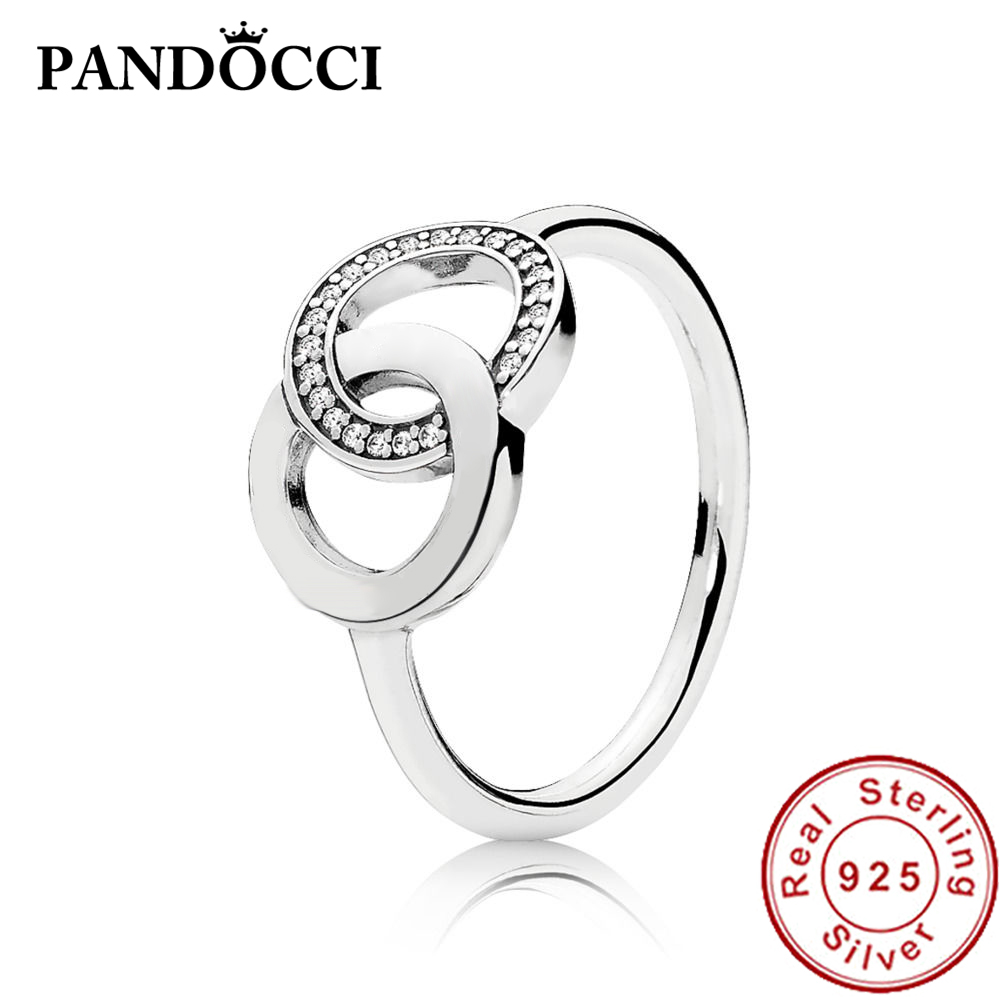 1109f7aea 925 Silver ring Collections Original Engraving logo Charms Rings for women  Fit P Brand Circles Ring, Clear CZ196326 fine jewelry