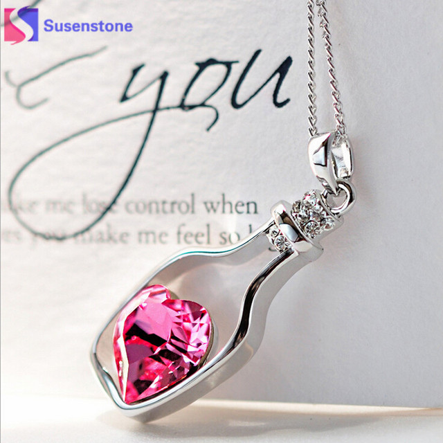 3colors Heart Crystal Pendant Necklace Creative Women Necklace Ladies  Popular Style Love Drift Bottles Pendant Necklace  2-3 7a1ae4ba1110