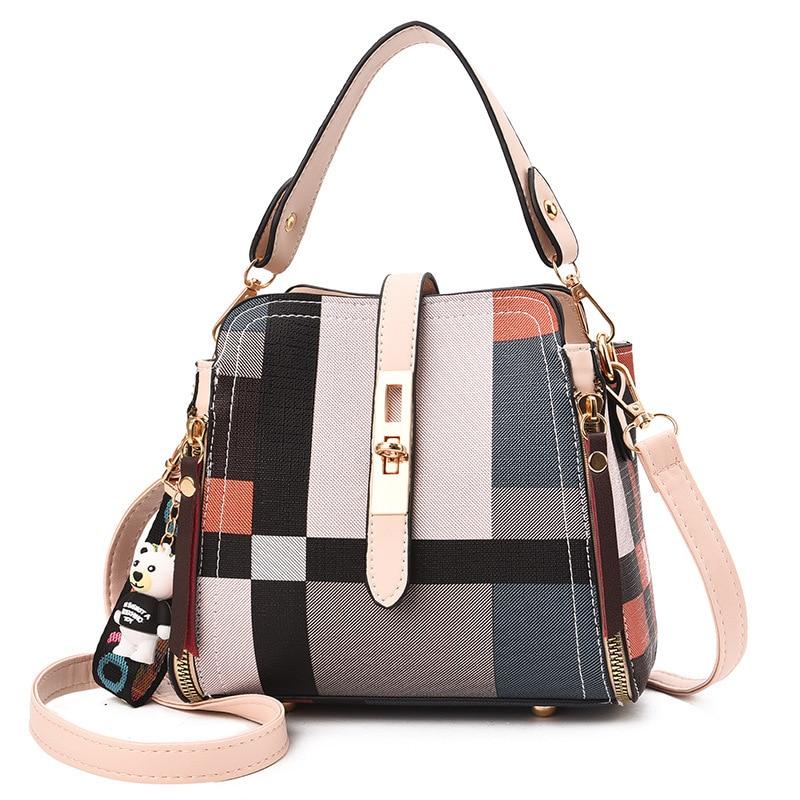 Women\'S Hasp Plaid Shoulder Bag Ladies PU Leather Bucket Bag Zipper Tassel Handbag Party Crossbody Bag