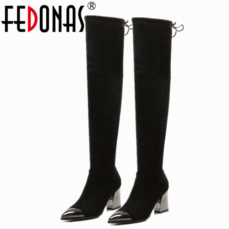 FEDONAS Metal Toe Thick Heel Genuine Leather Brand Over Knee Boots Women Autumn Winter Warm Pointed Toe Long Boots Shoes Woman lg 55uf860v
