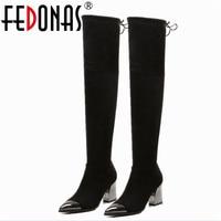 FEDONAS Metall Toe Starke Ferse Echtem Leder Marke Overknee stiefel Frauen Herbst Winter Warme Spitz Lange Stiefel Schuhe frau