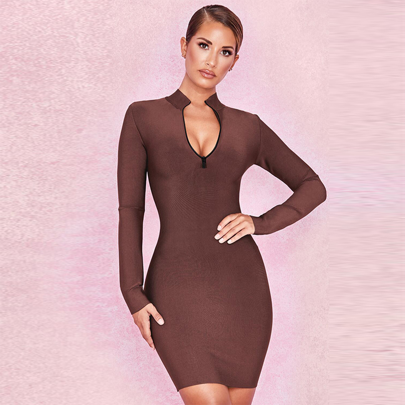 New Fashion Brown Long Sleeve Smooth Bandage Women Dress Zipppers Long Sleeve Autumn Show Style Outfit Causal Apparel Wholesale