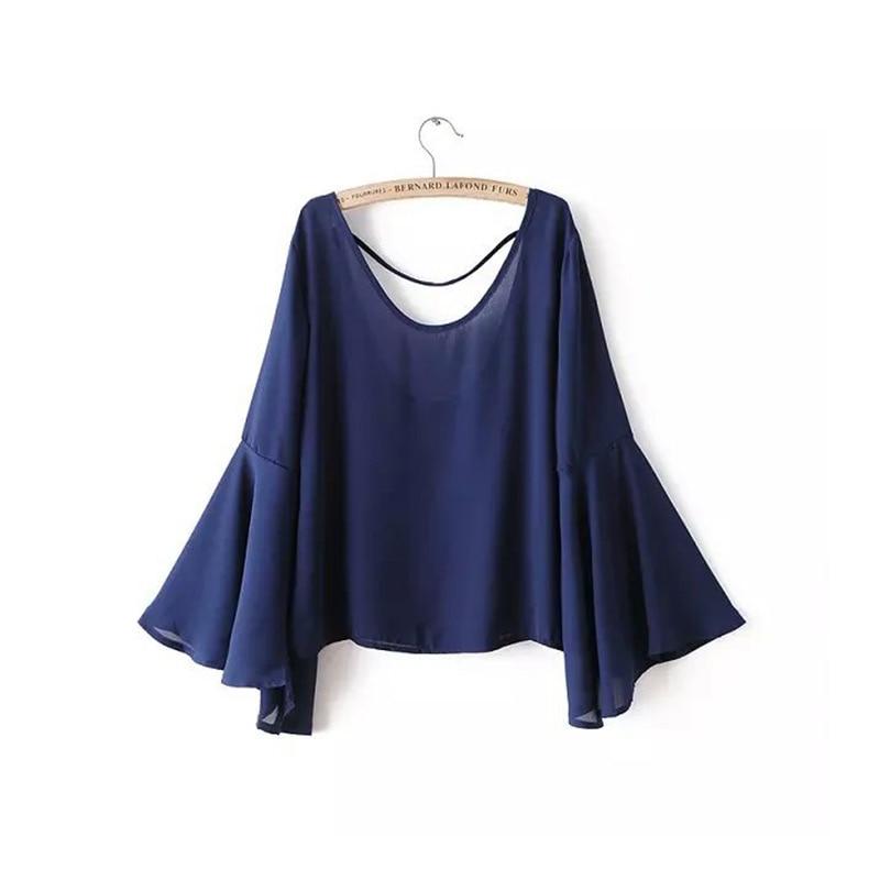 Blusas de las mujeres Camisas  de Verano Llamarada Suelta de Manga Larga de Gasa