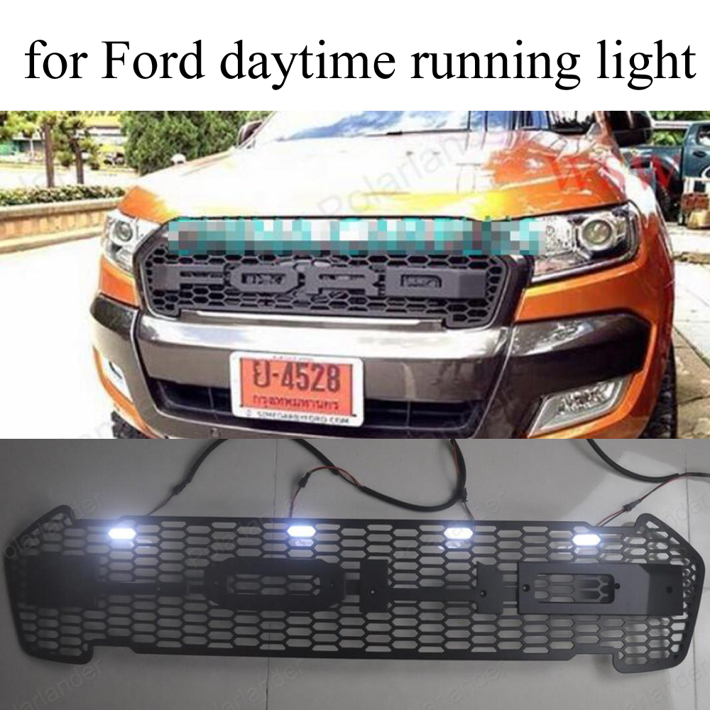 RANGER FRONT PROTOR BLACK LIT GRILL with LED day light FOR Ford RANGER 2015 2016 GRILL