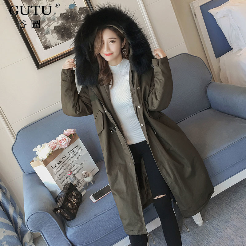 [GUTU]2017autumn And Winter New Korean Solid Color Fur Hooded Collar Long Sleeves Zipper Pockets Wide-waisted Coat Woman E101806 new arrival autumn and winter 2017 outdoor softshell long sleeves solid color zipper pocket sports windbreaker men 150