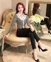 Fashion Pantsuits Women Business Suits Formal Office Suits Work 2 Piece Pant And Top Sets Striped
