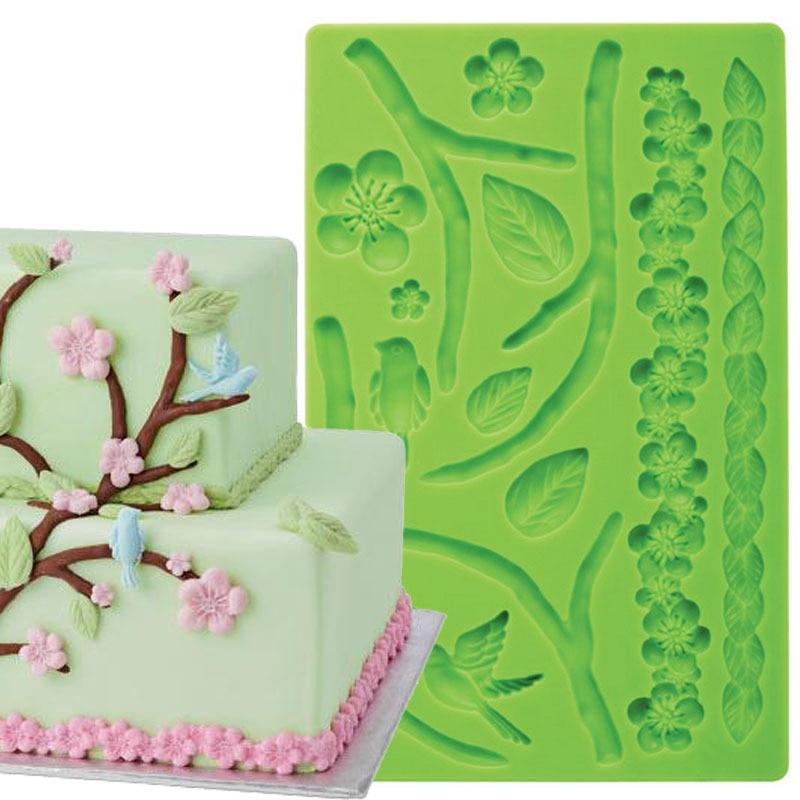 Fondant Cake Dekorationsværktøj Natur Fondant og Gum Pasta Cake Border Silicone Mould Funktioner Grener Blomster Fugle Blade