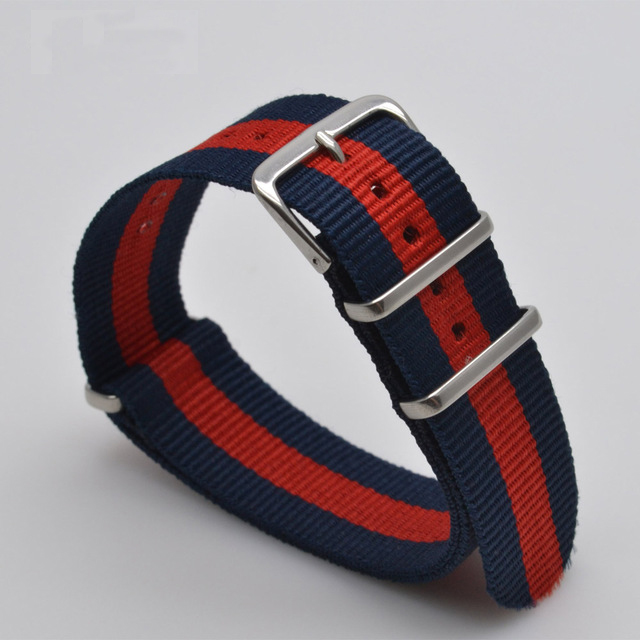 2017 new watchband strap 18 20 22 mm Nato Nylon Striped Navy blue /Red Army Watch Replacement Strap WatchBand 20mm men g10 bond nato nylon red black striped strap for army sport watch replacement watchband