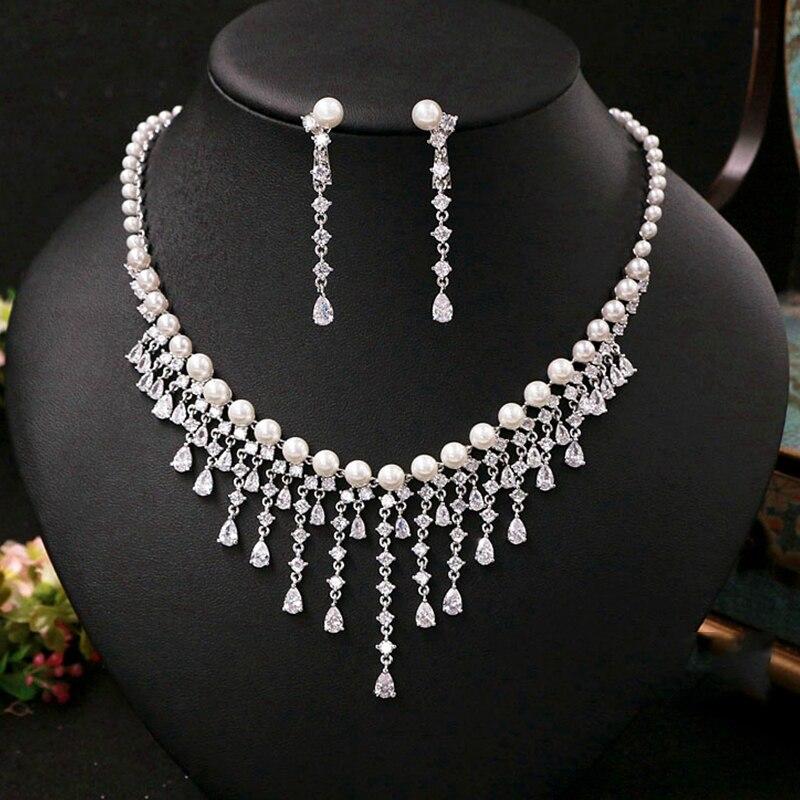 Cubique zircone ronde perle perceuse Noble mariée collier pendentif boucles d'oreilles bijoux strass accessoires de mariage pour les femmes