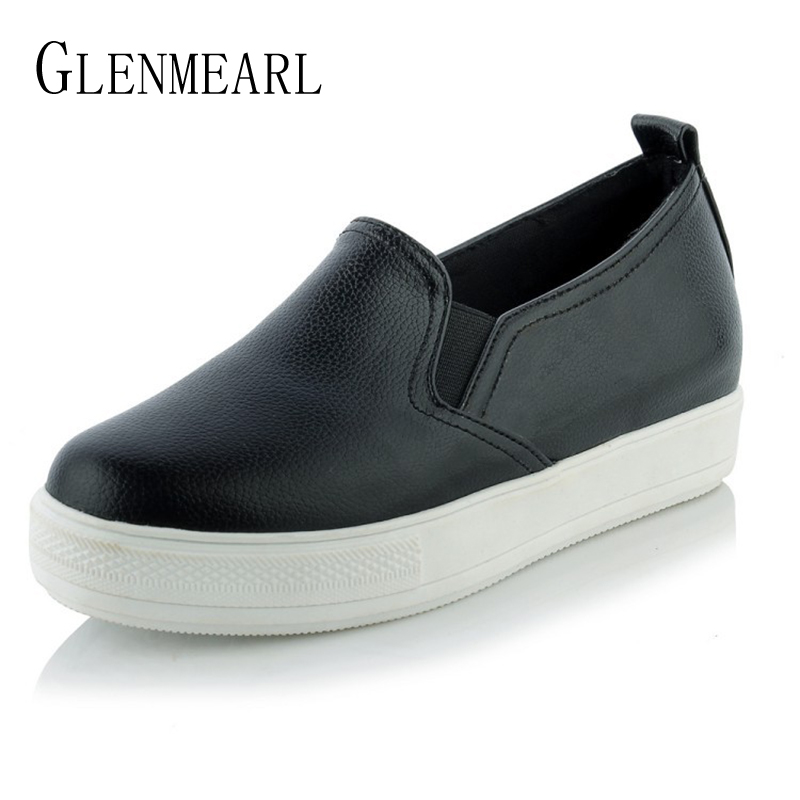 Brand Women Loafers Thick Heels Platform Flats Shoes Single Casual Comfort Ladies Lazy Shoes Plus Size 34-44 mcckle woman fashion plus size shoes women black flats loafers shoes casual comfort shallow mouth work shoes brand ladies shoes