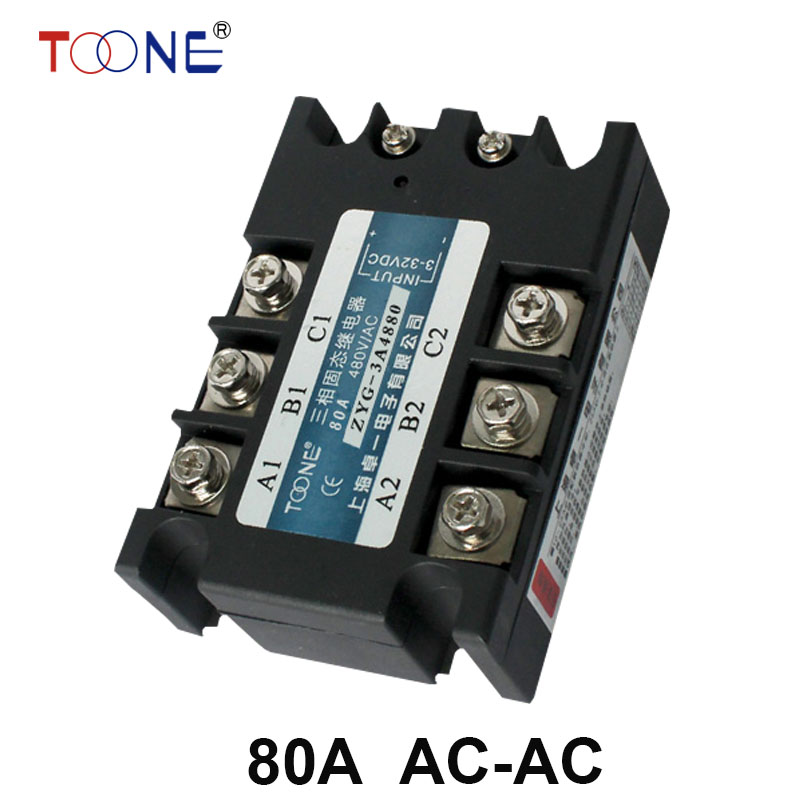 ZYG-3A4880 80A AC control AC SSR three phase Solid state relay normally open single phase solid state relay ssr mgr 1 d48120 120a control dc ac 24 480v
