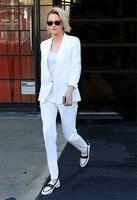 Белые брючные костюмы женский деловой костюм костюмы для женщин офисные костюмы Деловая одежда наборы Униформа стили элегантные брюки