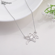 My Shape Stainless Steel  Geometric Petal Flower Pendant Women Jewelry Crystal Necklace for Gift milky blue earring and pendant necklace flower shape pendant necklace jewerly set for women gift