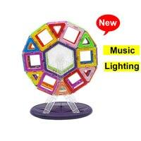 46PCS/Set Musical Lighting Ferris Wheel Standard Size Magnetic Blocks 3D Model Building Bricks kids Educational Toy Colorful New