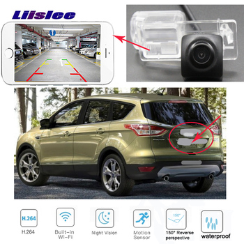 LiisLee WIFI  Rear View Camera For Ford kuga Escape 2013 2015 2017 2018 MK2 Night Vision license plate  Backup  wireless camera