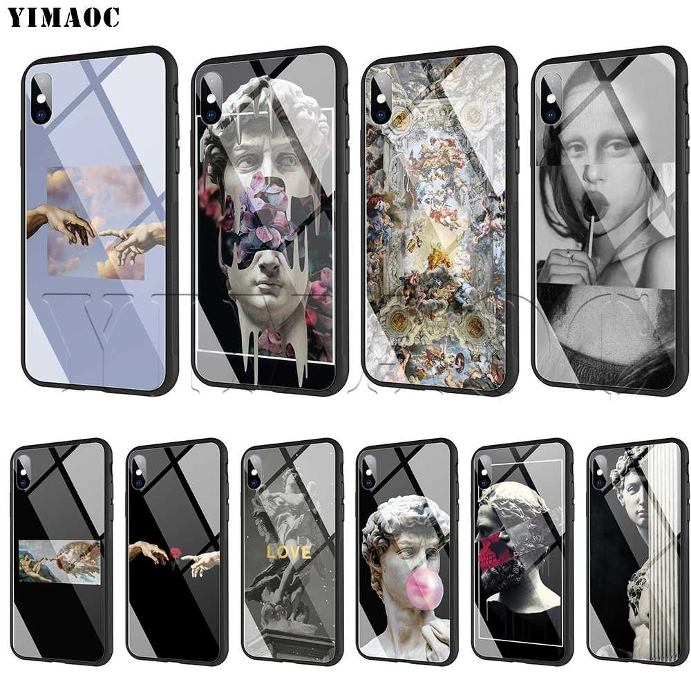 YIMAOC Michelangelo Art Statue Aesthetic Tempered Glass Case for iPhone 11 Pro XS MAX XR X 8 7 6 6S Plus