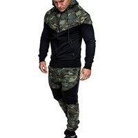 2018 New Fashion Top Quality Men S Autumn Winter Camouflage Sweatshirt Top Pants Sets Suit