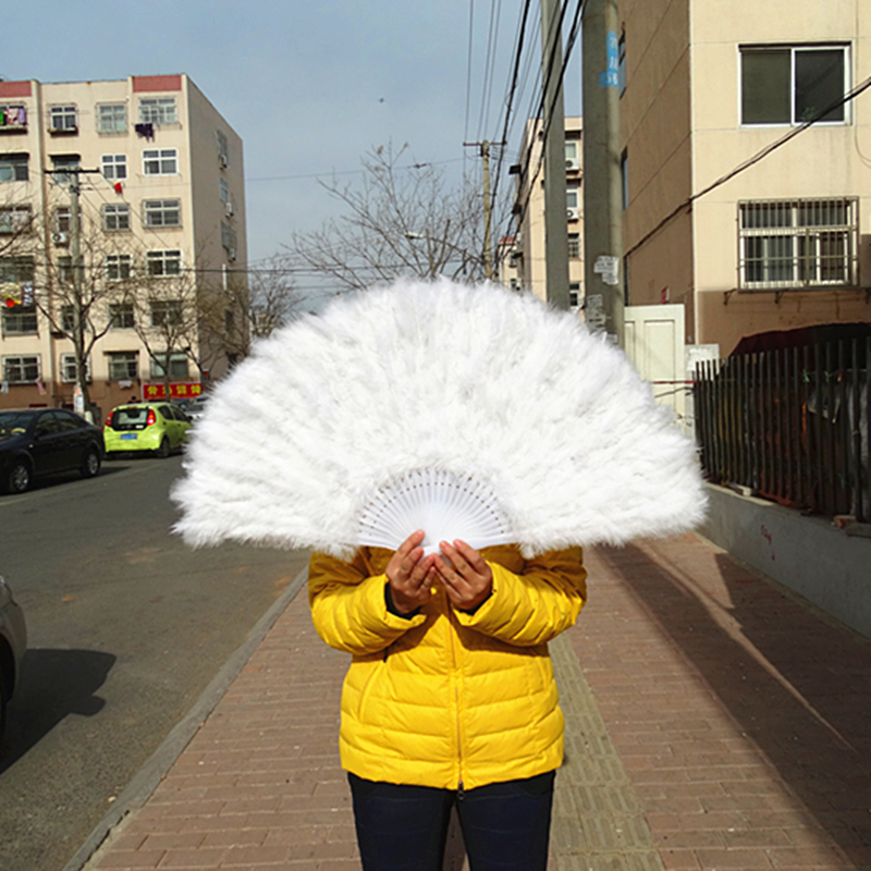 Factory Direct Sales White Ladies Folded Turkey Feather Hand Fan Wholesale  Handmade Fans For Dance Wedding Decoration 41