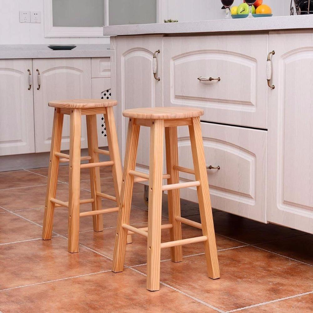 Giantex Set of 2 Round 24 Bar Stools Wood Bistro Dining Kitchen Pub Chair Furniture New Living Room Furniture HW54778 цена