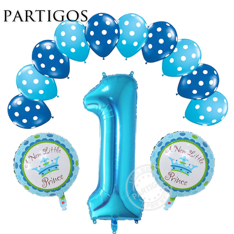 13pcs/lot 1 Year Old Baby Shower Balloons Birthday Helium Boy Girl Polka Dot Latex Balloon Kids Birthday Party Decoration Globos