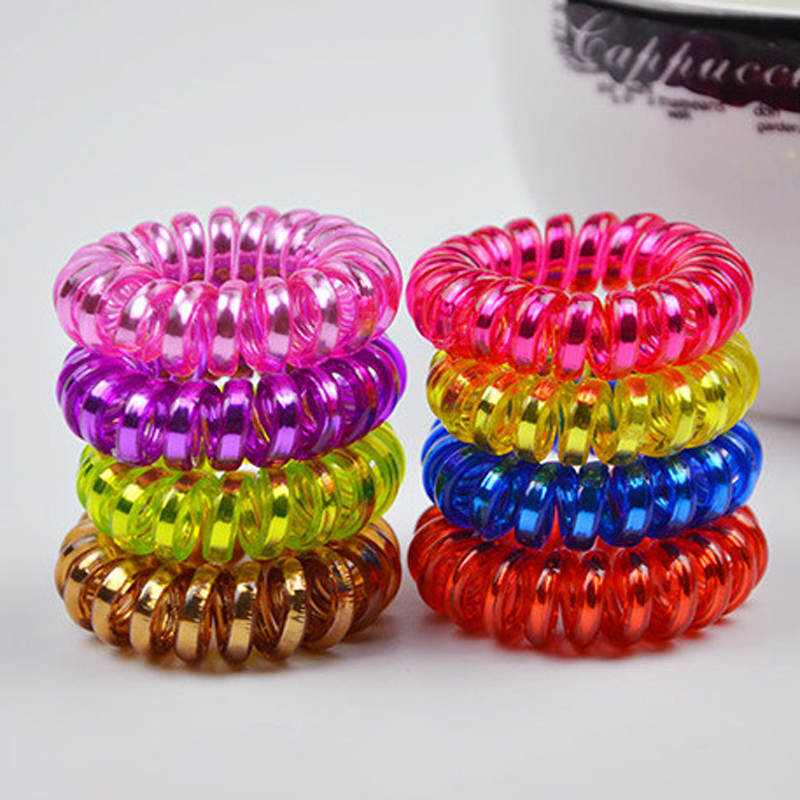 Wholesale 100 Pcs Telephone Wire Line Rope Gum Print Hair Elastic Rubber Bands Scrunchy Ponytail Holder Hair Piece