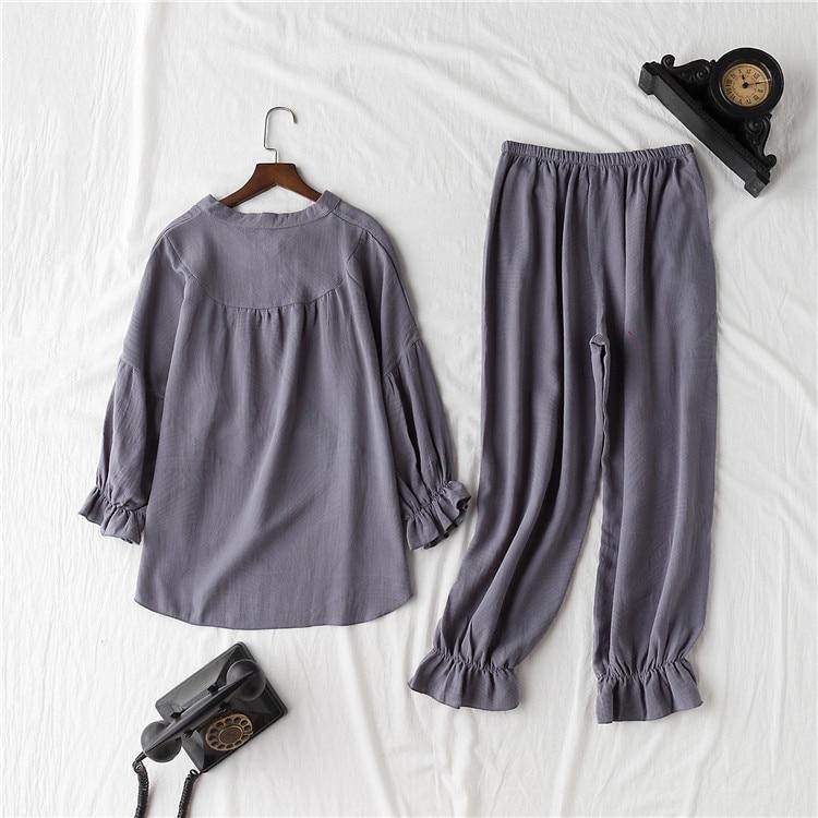 Image 2 - Daeyard 100% Cotton Pajama Sets Women Vintage Long Sleeve Shirts and Trousers 2Pcs Soft Pyjamas Sleepwear Cute Pullovers Suit-in Pajama Sets from Underwear & Sleepwears