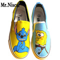 Spongebob Lilo and Stitch Canvas Shoes Student Boys Girls Hand Painted Fashion Shoes Low Top Breathable Flat Shoe Footwear