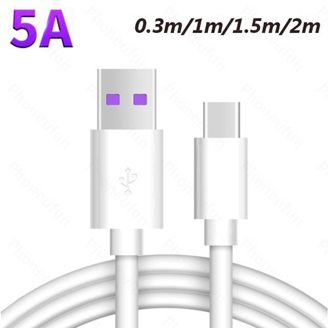 0,3 m/1 m/1,5 m/150 cm/2 m/200 cm 5A tipo C sobrecargar Cable para Huawei P20 Pro P10 amigo 20 10 9 DE CARGA RÁPIDA USB-C Cable corto largo