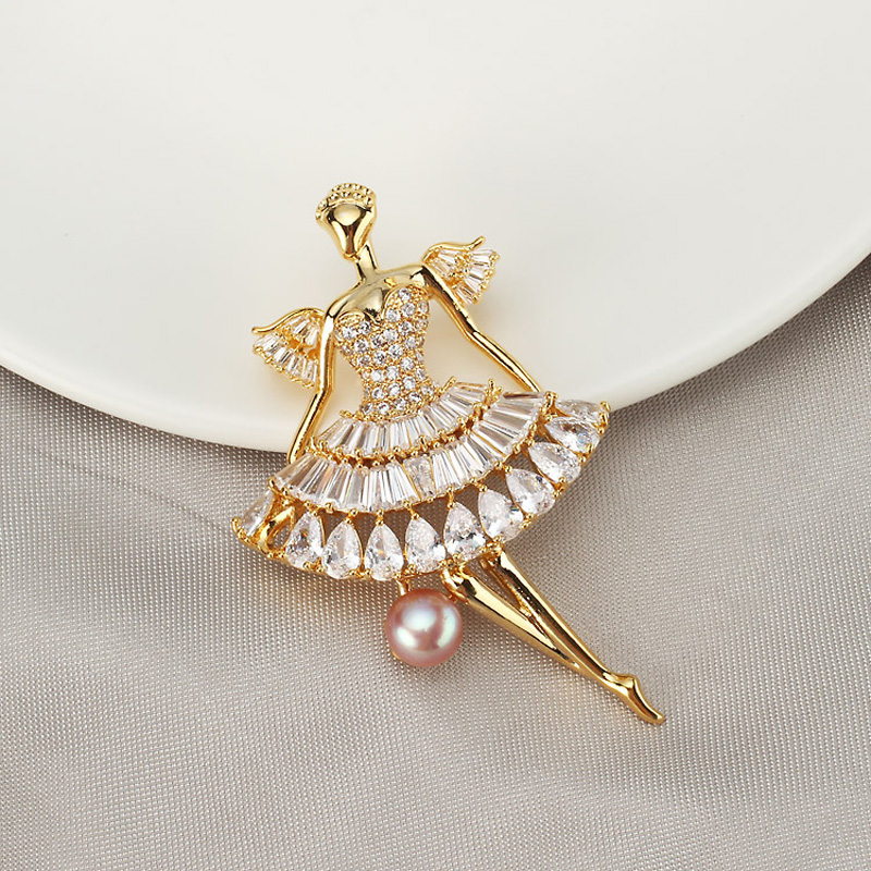 Luxury Gold Brooches Accessories for Women Romantic Wedding Bridesmaid Natural Pearl Party Gifts Bouquet Brooch Pin