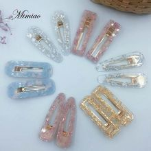 12 Pcs/set Acrylic Hollow Waterdrop Rectangle Hair Clips Tin Foil Sequins Hairpins Accessories For Women