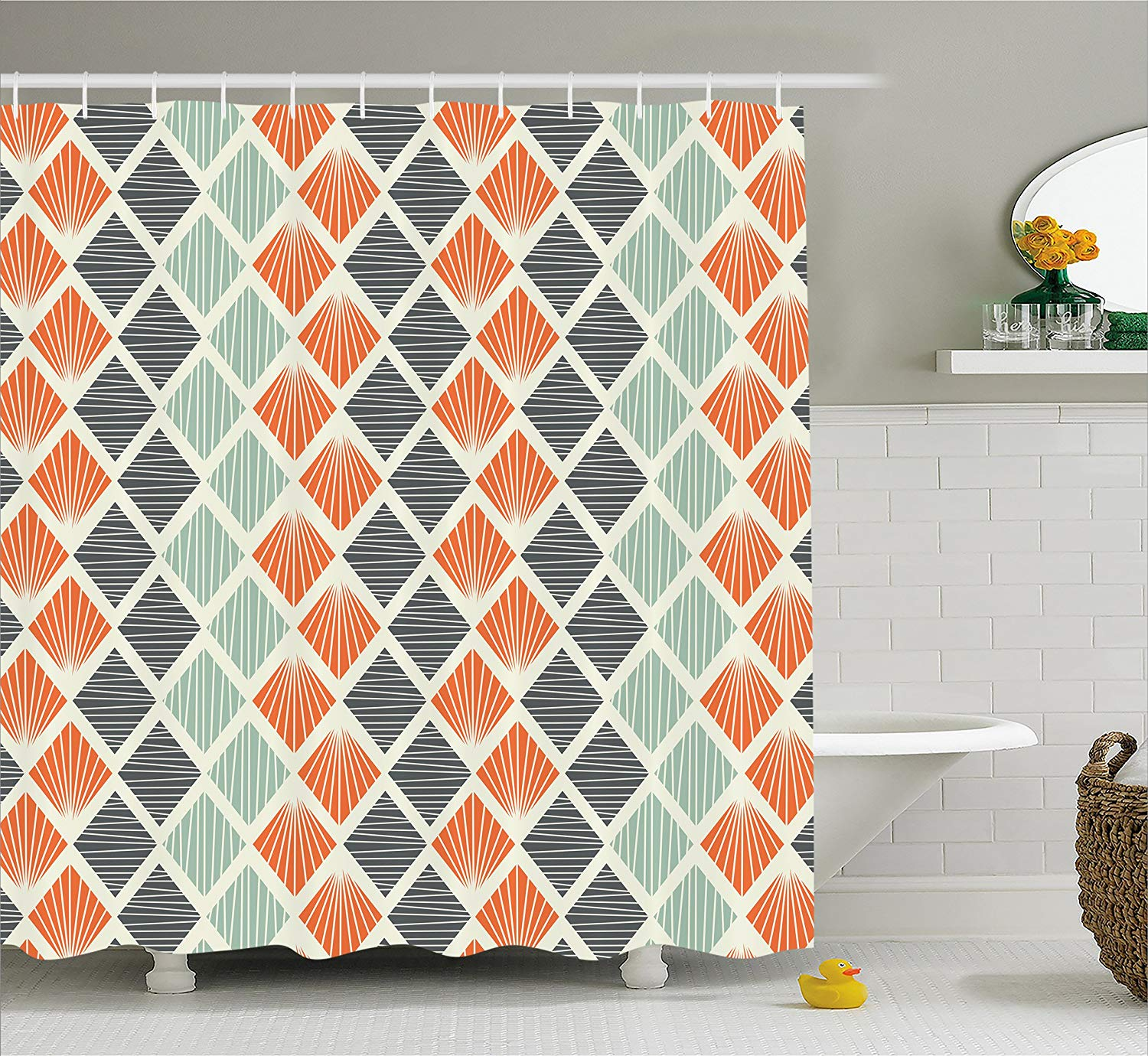 Geometric Decor Shower Curtain by Pop Art Style Retro ...
