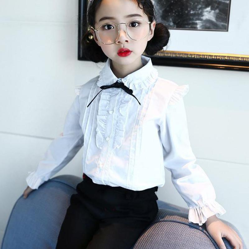 0dcc530d Girls White Shirts 2018 Autumn Girls Clothes 10 12 Year Teenage School  Uniform Girl Blouse Shirts Children Clothing Kids Clothes