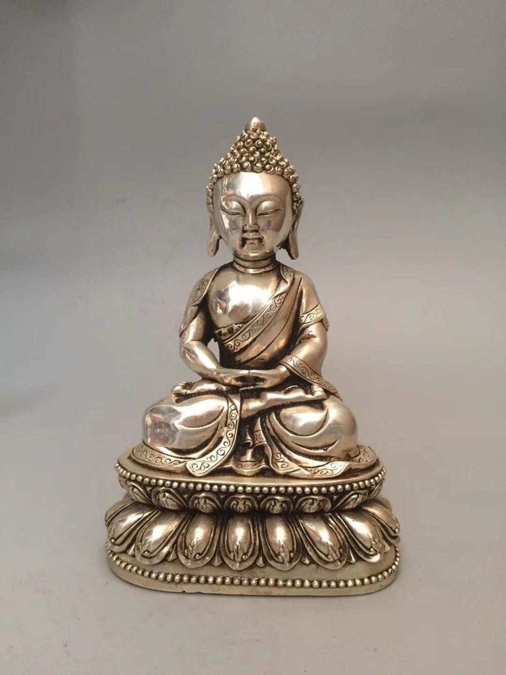 Collectible archaize white copper Sakyamuni Buddha statueCollectible archaize white copper Sakyamuni Buddha statue