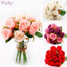FENGRISE Wedding Bouquet Artificial Rose Flower Bridal Bouquet of Flowers White Pink Thai Royal Rose Silk flower Home Decoration