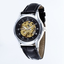 GOER brand Skeleton Men s wrist watches Leather mechanical waterproof movement Luminous man automatic watch