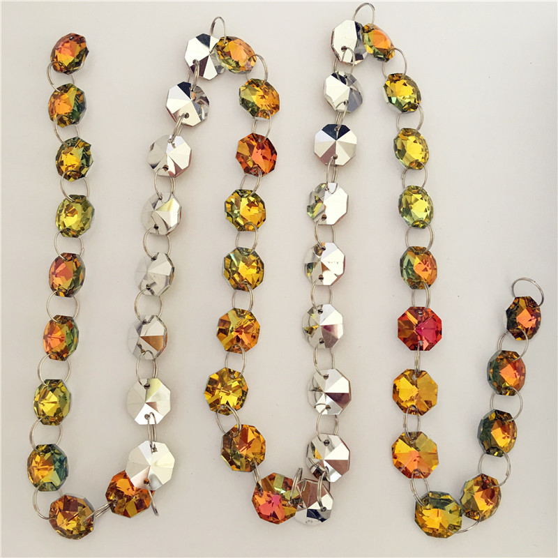 14mm 100 Meters Orange Red Yellow Green Silver Plate Crystal Octagon Bead Chain For Party Dress