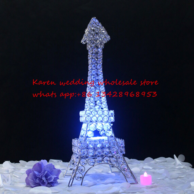 The Silver Color Eiffel Tower Metalcrystal Candle Holder Candle