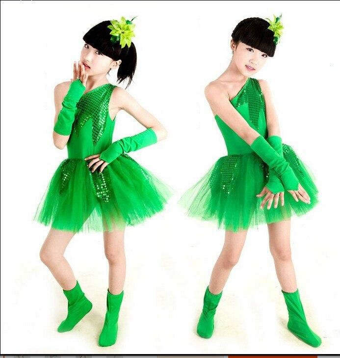 Children Latin Grass Performance Clothing Green Puffy Princess Dress Girls Boy Jasmine Chorus Suit Modern Dance Ballet Dress