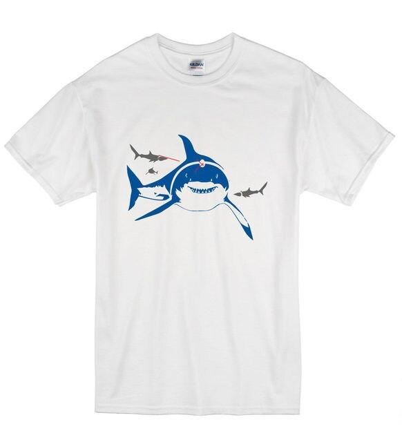 summer fashion casual men o neck cotton t shirt shark lasers funny
