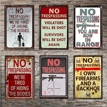 No Trespassing Metal Sign Bar Wall Decoration Tin Vintage Poster Home Decor Painting Plaques Q001(371) 30x20cm