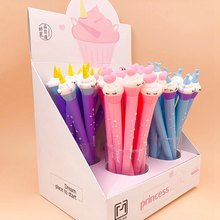 1 Pcs Korean Stationery Cute Silicone Cartoon Unicorn Flamingo Cake Students Sign Pen With Black Core Gel Pen Cute Stationary(China)