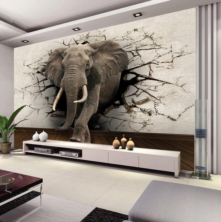 Buy custom 3d elephant wall mural for Designer mural wallpaper