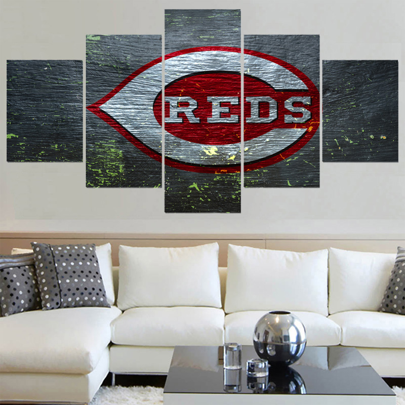 Hot Football 5 Panel Home Decor Picture Cincinnati Reds Canvas Painting Calligraphy Sport Ball Team Poster Wall Art Paintings